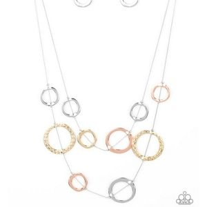 Multi metal circle necklace with earrings